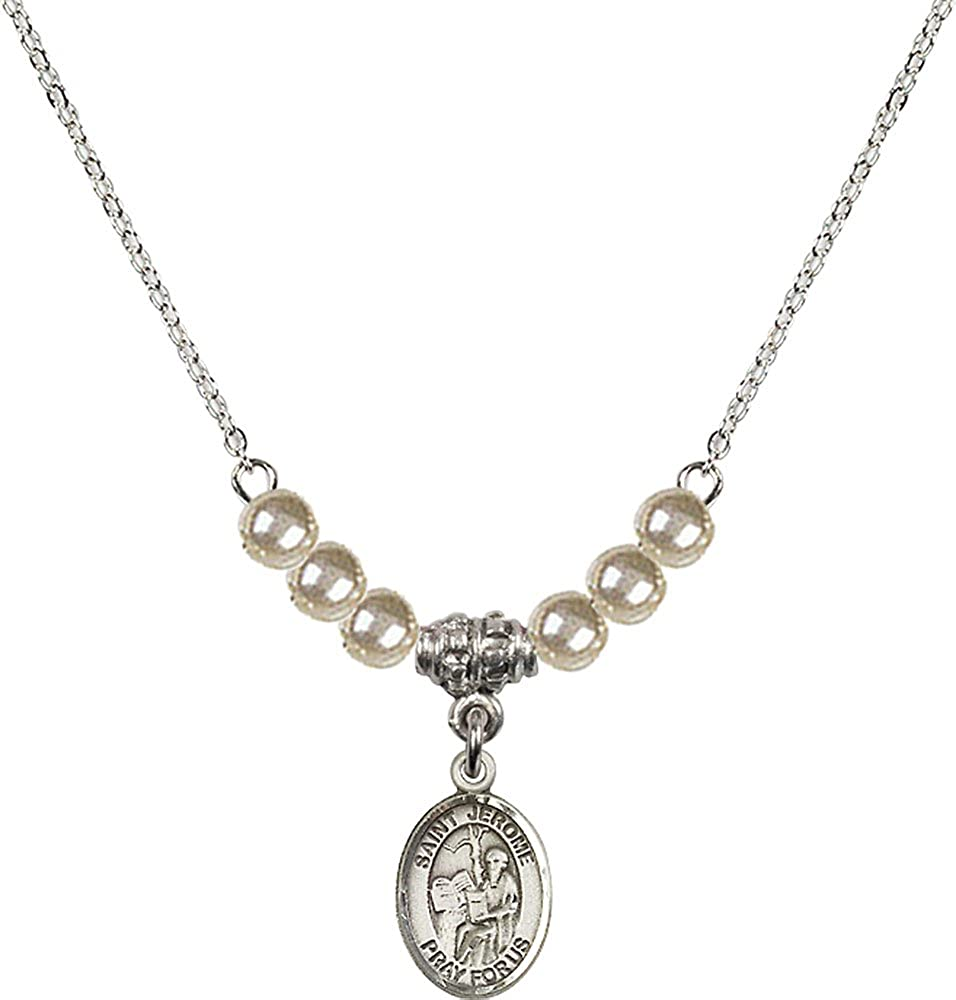 18-Inch Rhodium Plated Necklace with 4mm Faux-Pearl Beads and Sterling Silver Saint Jerome Charm.