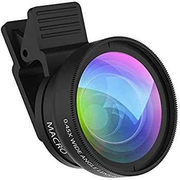 Cell Phone Camera Lens ZPTONE 2 in 1 Clip-on Lens Kit 0.45X Super Wide Angle & 12.5X Macro Phone Camera Lens for iPhone 8 7 6s 6 Plus 5s Samsung Android & Most Smartphones Black