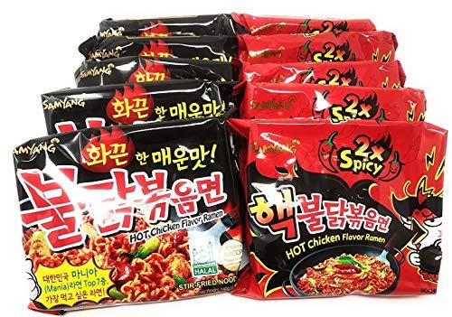 Samyang Top Two Spicy Chicken Hot Ramen noodle Buldak Variety 10 pack (5 each:Hek Nuclear,Original)