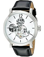 Disney Mens W002323 Mickey Mouse Silver-Tone Watch with Black Band