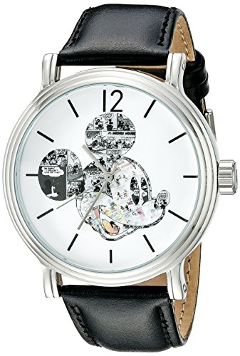 - Disney Men's W002323 Mickey Mouse Silver-Tone Watch with Black Band