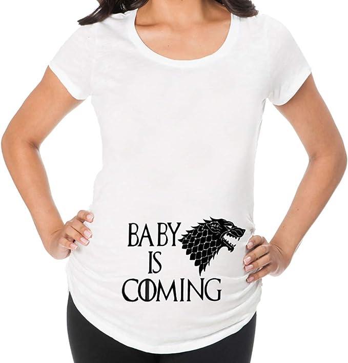 Battnot Damen Umstandsmode Blusen Sommer T Shirts, Frauen Schwangere Mutterschaft Umstandstops Oberteile Lustig Baby is Coming Druck Kurzarm Rundhals