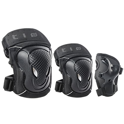 GES Adult/Child Knee Pads Elbow Pads Wrist Guards Protective Gear Set Sports Safety Pad for Roller Skatings Skateboarding Inline Scooter Riding BMX Bicycle Cycling Pack of 6 (Child) by GES