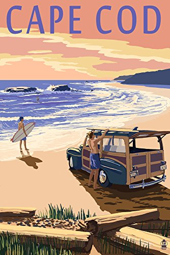 Old Cape (Cape Cod, Massachusetts - Woody on Beach (9x12 Art Print, Wall Decor Travel Poster))