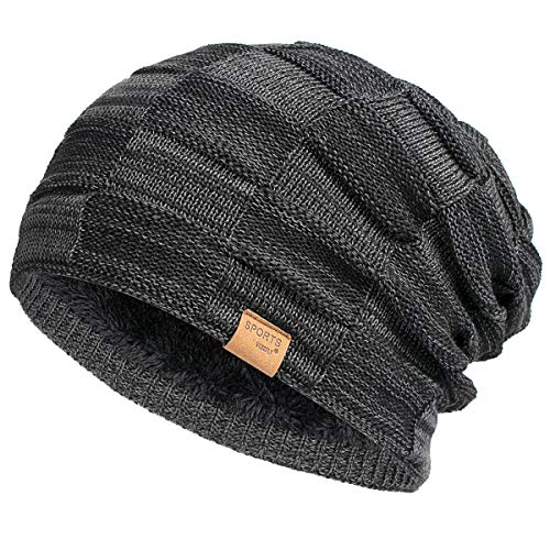 Vgogfly Slouchy Beanie for Men Winter Hats for Guys Cool Beanies Mens Lined Knit Warm Thick Skully Stocking Binie Hat
