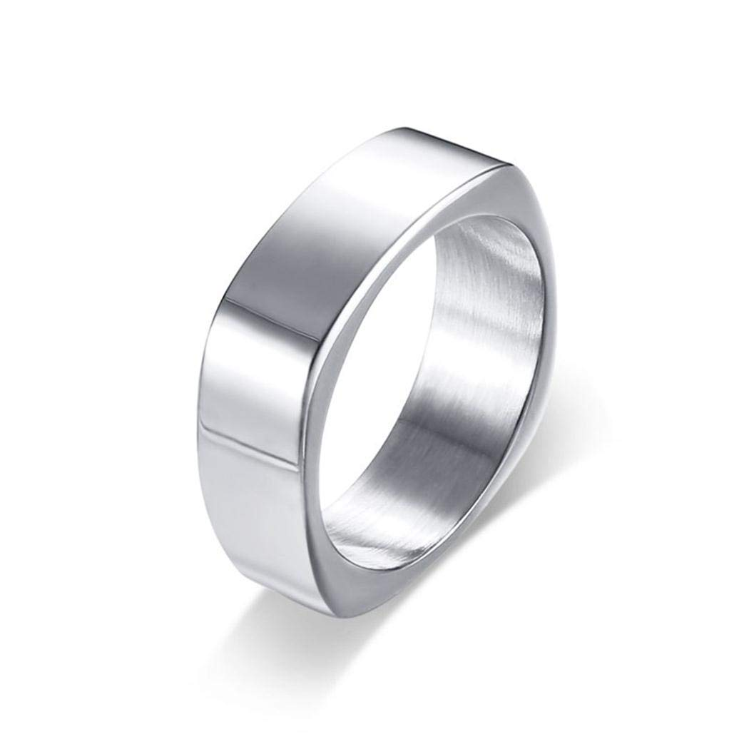 Fashion Stainless Steel Jewelry JEWURA Biker Ring Silver Square Shaped