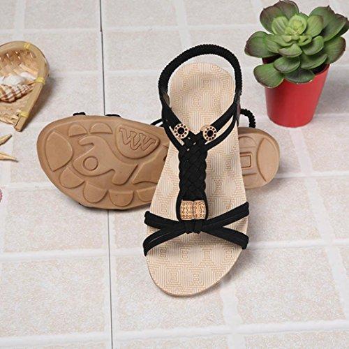 IGEMY Women Flat Shoes Bandage Bohemia Leisure Lady Sandals Peep-Toe Outdoor Shoes Black DnAiNgup