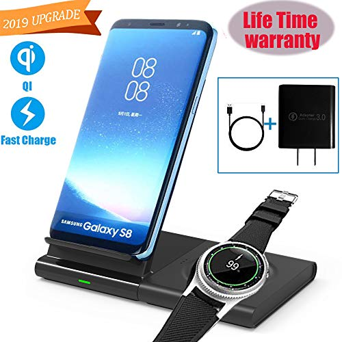 OOLYCIO Dual Wireless Charger Sutiable for Samsung Phone and Watch, 2in1 Wireless Charging Station,Fast Charge Stand&Pad,Compatible with Samsung Galaxy Watch Gear S3/Galaxy Buds,Include QC3.0 Adapter