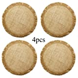 "HOMETOOK 100% Jute Rustic Vintage 17"" Round Placemat Decorated with Tassels for Parties BBQ's Everyday & Holidays Use (Set of 4) (no Printing)"