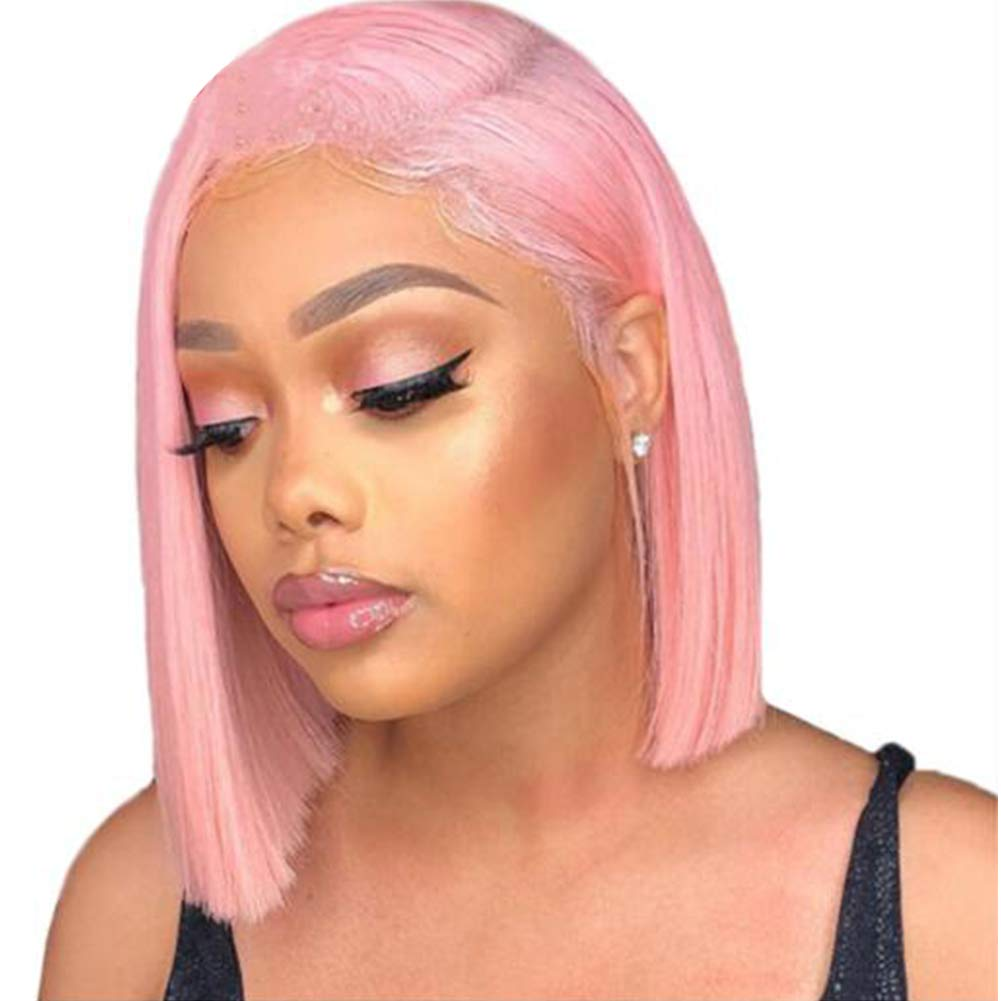 #Pink Human Hair Short Bob Lace Front Wigs 130% Density For Black Women Blunt Cut Straight Full Lace Wig with Baby Hair Bleached Knots (10, Pink color, lace front wig) 519LZD2YLBL