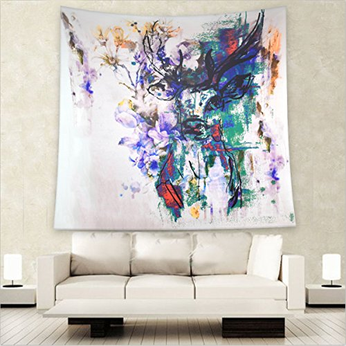 Mandalay Queen (Willing Life Boho Watercolor Deer Print Floral Tapestry Abstract Painting Hippy Wall Hanging Bedspread Couch Cover Curtain Home Girl's Dorm Room Bedroom Decor 59