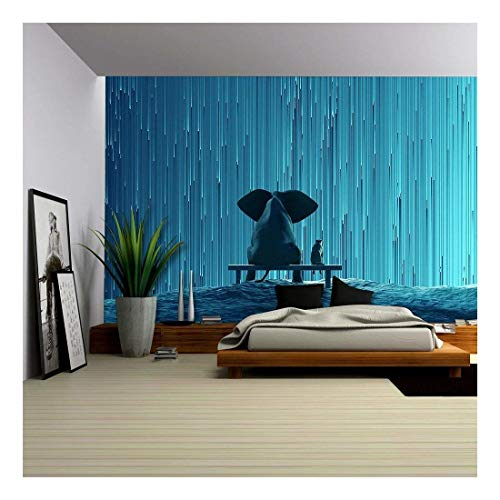 Elephant and Dog Looking at Star Rain Wall Decor