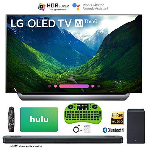 LG 55″ C8 OLED 4K HDR AI Smart TV (2018 Model) Bonus Hi-Res Soundbar + $100 Hulu Card + Wireless Remote Keyboard More – OLED55C8