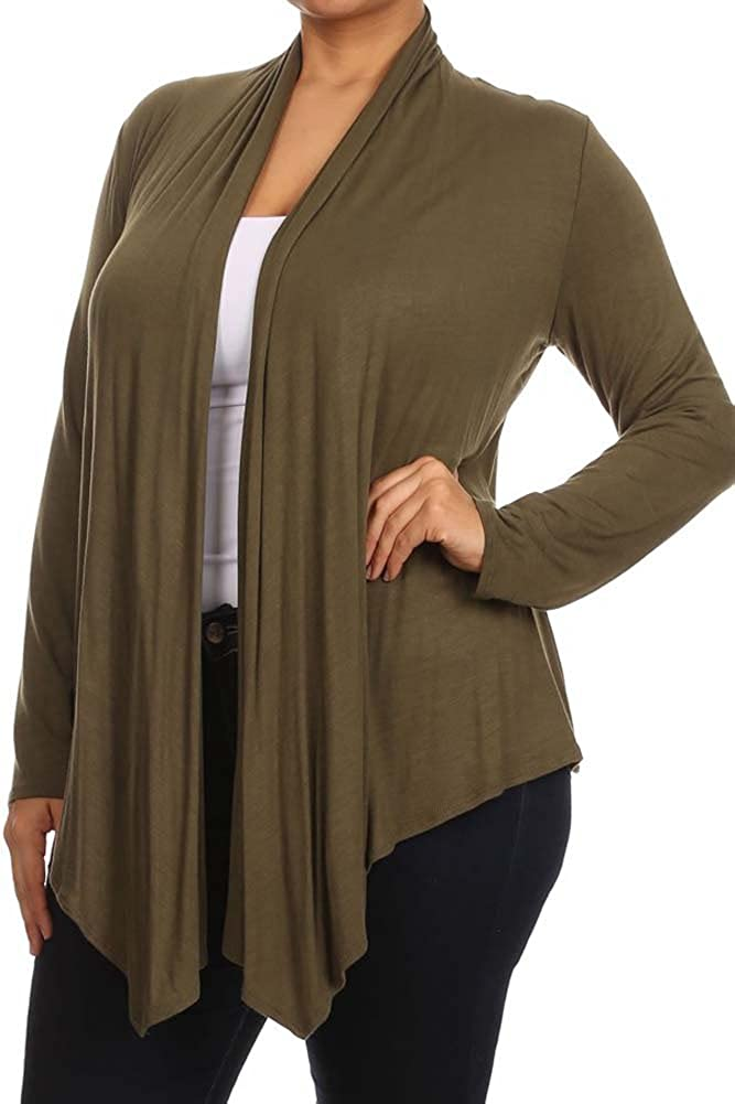 Made in USA Private Label Womens Plus Solid Long Sleeve Draped Neck Open Front Cardigan