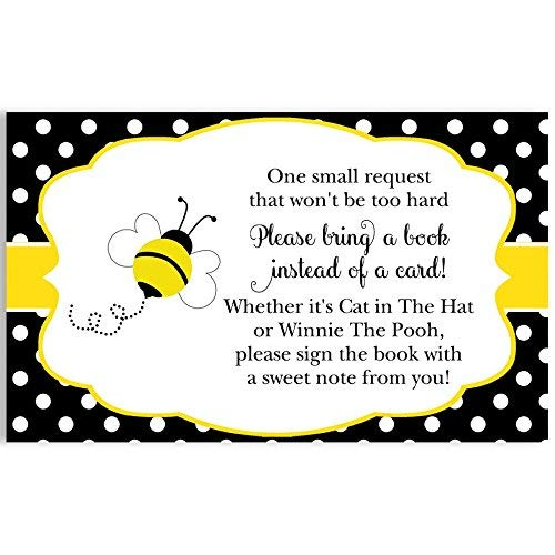 (Bee Baby Shower, Bee, Bring A Book, Cards, Babee On The Way Bring A Book Card, Black, Yellow, Polka Dot, Bee, Bumblebee, Baby Sprinkle, Baby's First Book, Baby Library, 24 Pack Printed Book Inserts)