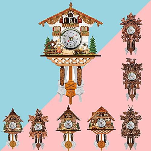 Cuckoo Clock, Cuckoo Wall Clock Handcrafted Wooden Wall Clock Retro Clock Wooden for Living Room Home (Style D)
