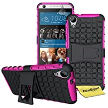 HTC Desire 626 626s Case, FoneExpert® Heavy Duty Rugged Impact Armor Hybrid Kickstand Protective Cover Case For HTC Desire 626 626s + Screen Protector & Cloth (Pink)