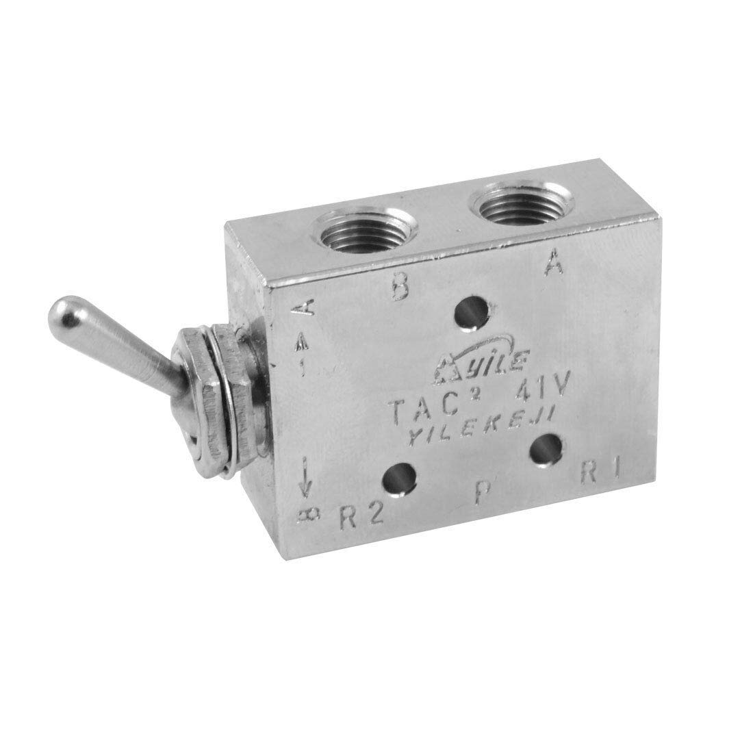 Silver Tone Air Pneumatic 2 Position 5 Way Toggle Switch Valve TAC2-41V by Balance World Inc