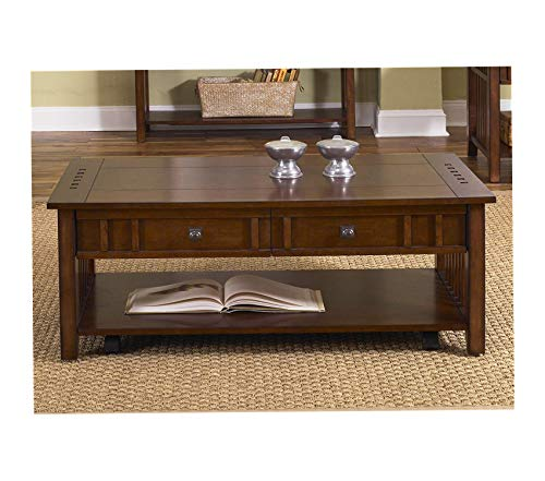 Wood & Style Furniture Prairie Hills Occasional Cocktail Table Satin Cherry Finish Premium Office Home Durable -