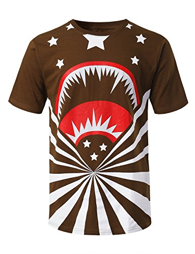 (URBANCREWS Mens Hipster Hip Hop Shark Stars Graphic Print T-Shirt Brown, L)