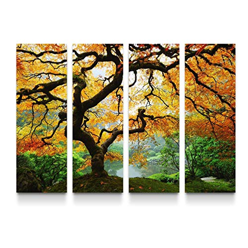 (STARTONIGHT Canvas Wall Art Amazing Maple - Trees Framed Large Set of 4 36 x 48 Inches)