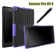 All-New Fire HD 8 2016 Case 6th Generation, NOKEA Hybrid Heavy Duty Armor Protection Cover [Anti Slip] [Built-In Kickstand] Skin Case For New Fire HD 8 Kids Tablet ( 6th Gen 2016 Release ) (Purple)