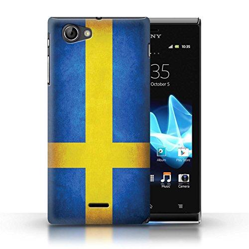 Etui / Coque pour Sony Xperia J (ST26i) / Suède/suèdois conception / Collection de Drapeau