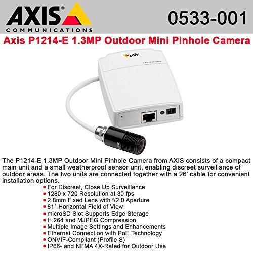 - AXIS P1214-E Network Camera - Network camera - outdoor - dustproof / waterproof - color - 1280 x 720 - 10/100 - MJPEG, H.264 - 0533-001