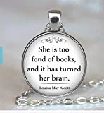 Best Asa Gifts For Lovers - She is too fond of Books quote pendant Review