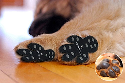 """Loobani 48 Pieces Dog Paw Protector Traction Pads To Keeps Dogs From Slipping On Floors, Disposable Self Adhesive Shoes Booties Socks Replacement, 12 Sets for 4 Paws (M-1.50""""x1.65"""", Black)"""