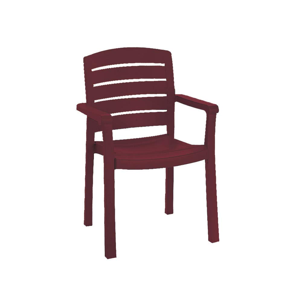 Grosfillex US119067 Acadia Classic Stacking Dining Armchair, Bordeaux (Case of 12)