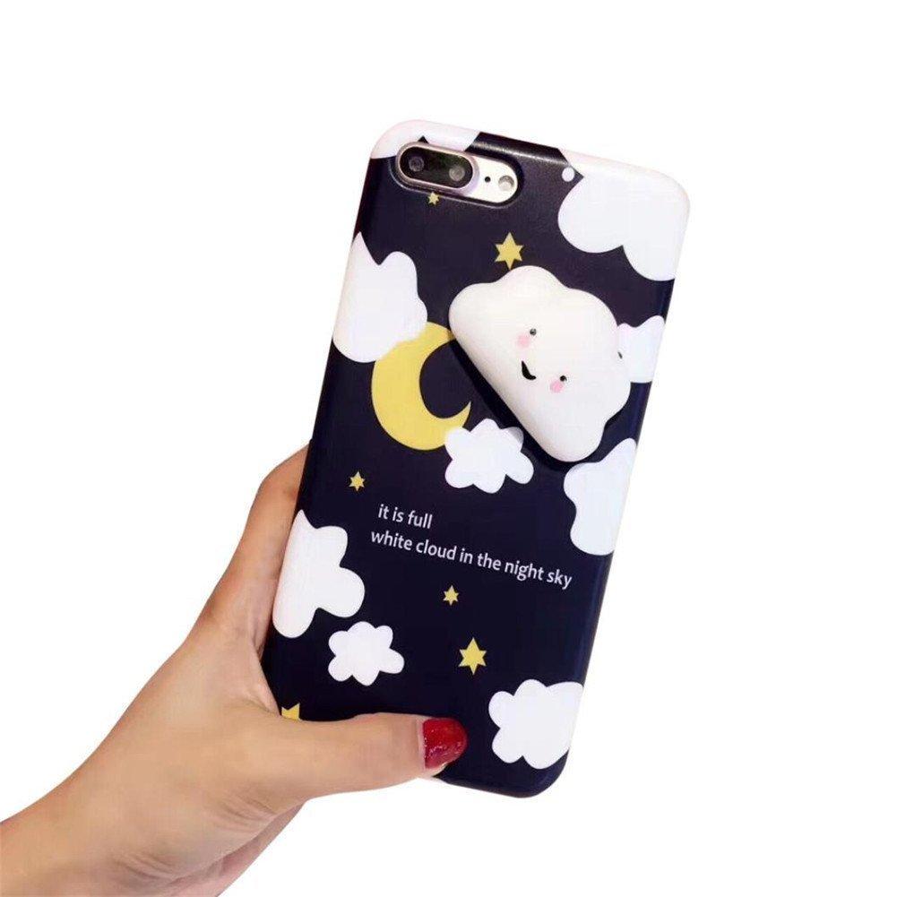 Squishy Cat Case for LG K7,Polar Bear Sleepy Cat Chicken Finger Pinch 3D Silicone Relax Poke Squishy Toys Kawaii Animals TPU Case for LG K7/ LG Tribute 5/ LG Treasure LTE(Cloud Black)
