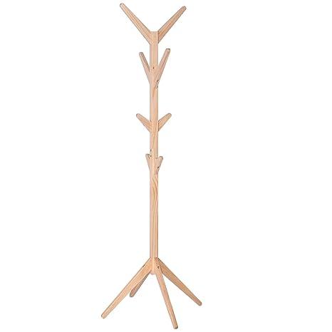 Woltu sr0059 Perchero de pie de Madera Stand Perchero de árbol con 8 Ganchos Entrada 180 cm