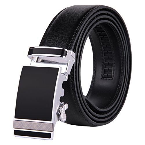 1 3 4 Leather Belt (JINIU Men's Leather Belt Automatic Buckle 35mm Ratchet Dress Black Belts Boxed)