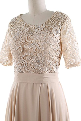 Half MACloth Midi Formal Dunkelgrun Gown Lace Mother Neck the Women Dress of Sleeve Bride O ppxrZH