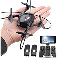 RC Helicopter Mini Drone with Camera FPV Live Video UFO Flying Quadcopter Toy for Kids Beginners 2 Batteries Altitude Hode Headless Mode