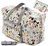 Foldable Travel Duffle Bag for Women Girls Large Cute Floral Weekender Overnight Carry On Bag for Kids Checked Luggage Bag (Z-Beige Mouse)