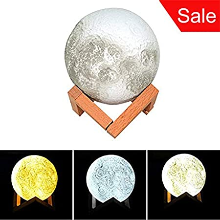 LED Night Light 3D Printing Moon Lamp Home Decor Baby Nursery Lamp USB Charging with Wooden Dock, Button Control Brightness Three Tone, Diameter 5.1 inch(Cool White/White/Warm White) NS