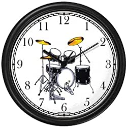 Drum Set (Drums) Musical Instrument - Music Theme Wall Clock by WatchBuddy Timepieces (Black Frame)