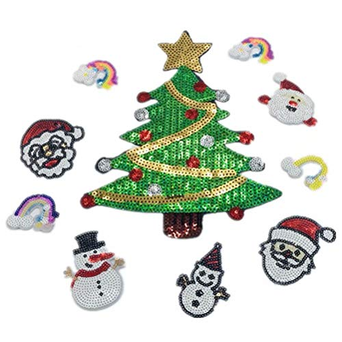 (Glitter Sequin Christmas Sew On Patches Appliques Cloth Jacket)