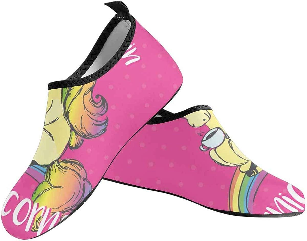 INTERESTPRINT Mens Water Shoes Unicorns Horse Horn Beach Swim Shoes Quick Dry Aqua Socks Pool Shoes