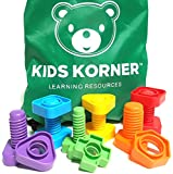Jumbo Nuts & Bolts Set + Pattern Card & Backpack 12 pc - Montessori Materials Fine Motor Toy Matching Toddler Game Colors and Shapes Occupational Therapy Autism