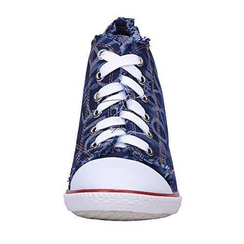 Sneakers up Canvas Rivet fereshte Blue Lace High C Ankle Heel Chunky Fashion Women's Deep Boots SI8wqwU