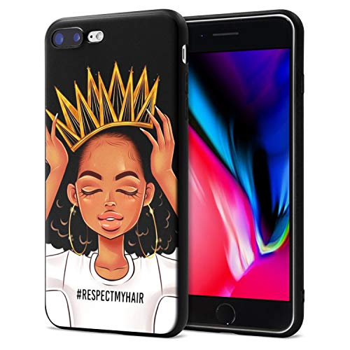 (iPhone 7 Plus iPhone 8 Plus Case African American Afro Girls Women Slim Fit Shockproof Bumper Cheap Cell Phone Accessories Thin Soft Black TPU Protective Apple iPhone 7 Plus Cases (09))