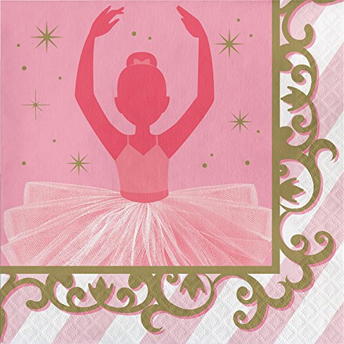 """Club Pack of 192 Pink and Gold Twinkle Toes Luncheon Paper Napkin 6.5"""" by Party Central"""