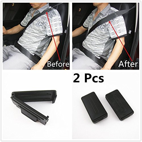 JDopption 2 Pcs Black Smart Seatbelt Adjuster Clip Buckle Shoulder Relax Neck Comfort Supports Seat Belt Clip Cover