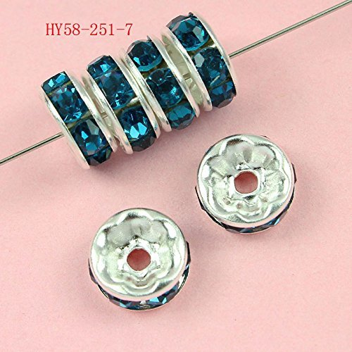 HYBEADS 100 Pcs Crystal Rondelle Spacer Bead Silver Plated 8mm (blue - 100 Silver Plated Pcs
