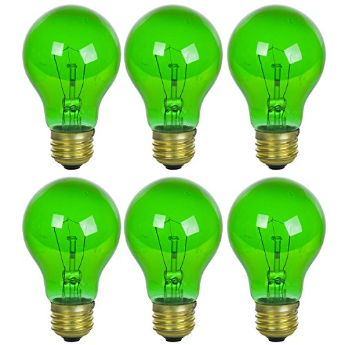 Sunlite 25A/TB/G/6PK Incandescent Green A19 25W Light Bulbs with Medium E26 Base