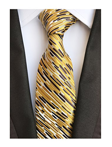 Men's Glod Brown Neckties Silk Tie For Men Suit Fitness Dating Fashion New Style by Elfeves