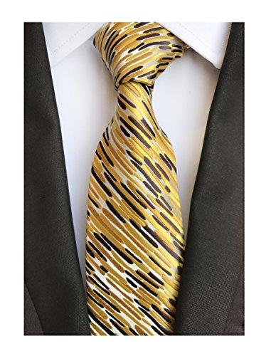 Men's Glod Brown Neckties Silk Tie For Men Suit Fitness Dating Fashion New (New Silk Mens Necktie Tie)